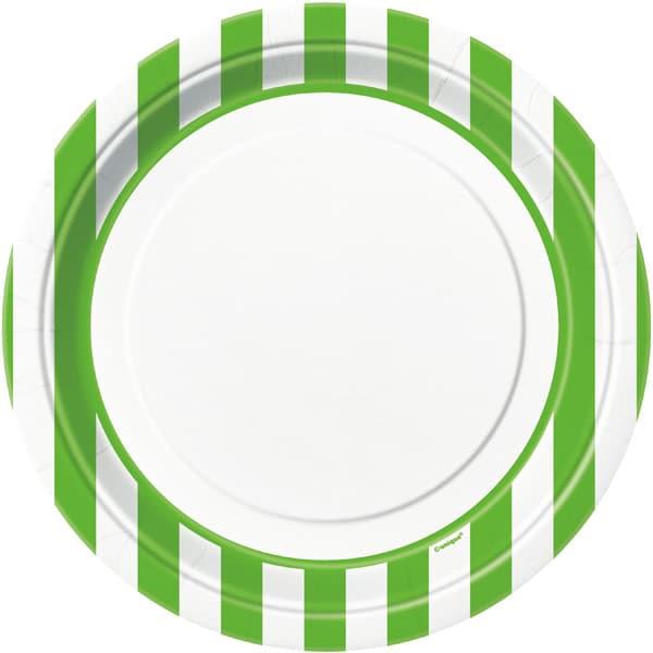 Lime Grøn og Hvid Striber Pap Tallerken - Single