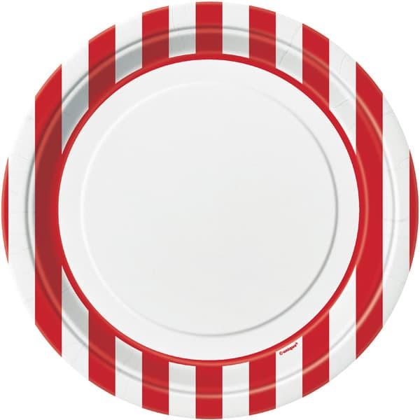 Rubin Rød og Hvid Striber Pap Tallerken - Single