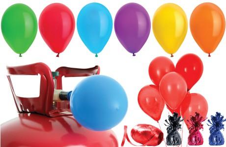 Helium Cylindere med Balloner og Bånd