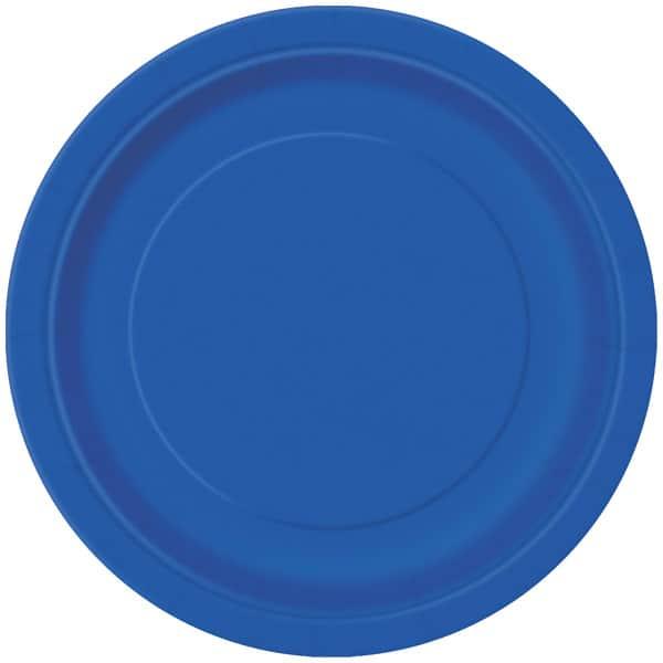 Blå Rund Paptallerken 22 cm - Single