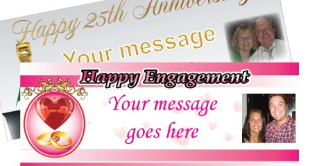 Forlovelse, Bryllup og Bryllupsdag Bannere med Egen Tekst