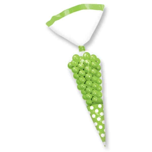 Grøn Prikket Trekant Gavepose - Pakke med 10