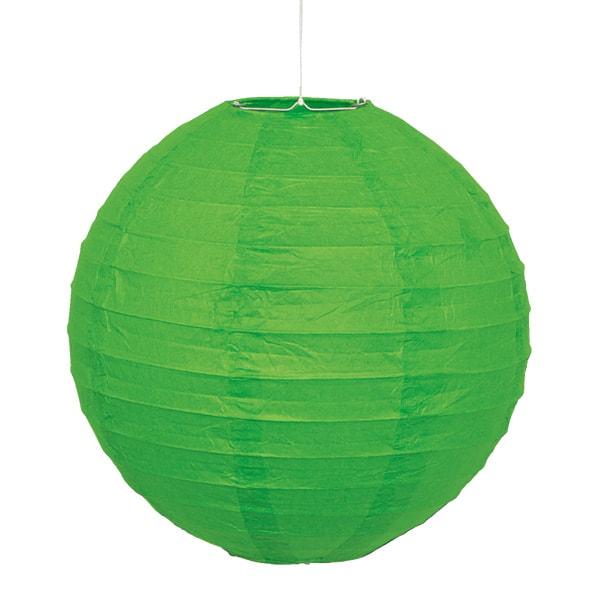 Lime Grøn Rund Papir Lanterne 25 cm – Single