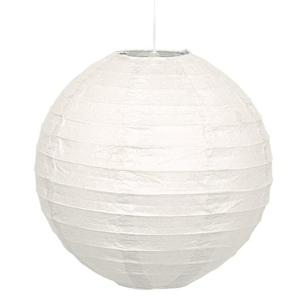 Hvid Rund Papir Lanterne 25 cm – Single