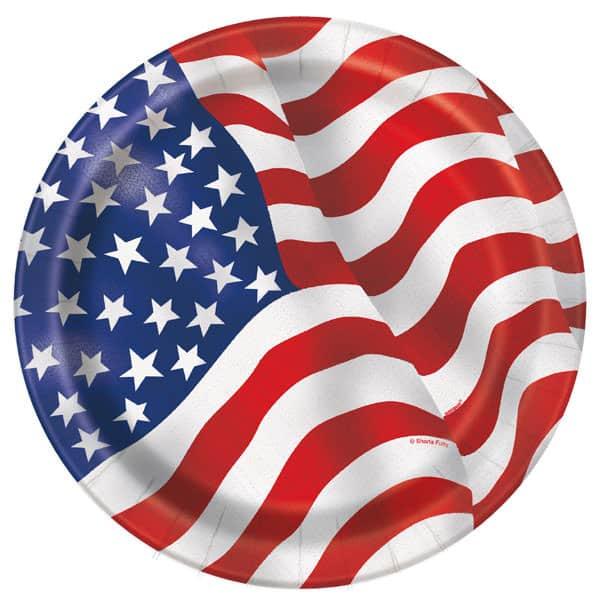 Amerika Flag Pap Tallerken 22 cm - Single