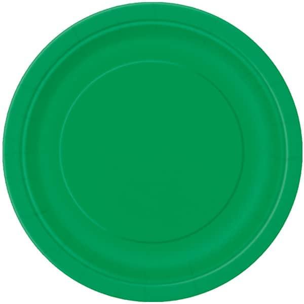 Smaragd Grøn Pap Tallerken 22 cm - Single