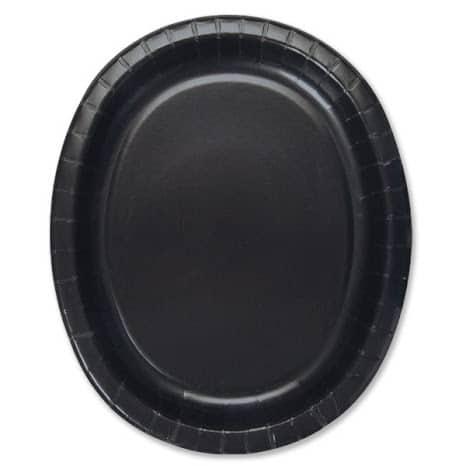 Sort Oval Pap Tallerken 30 cm - Single