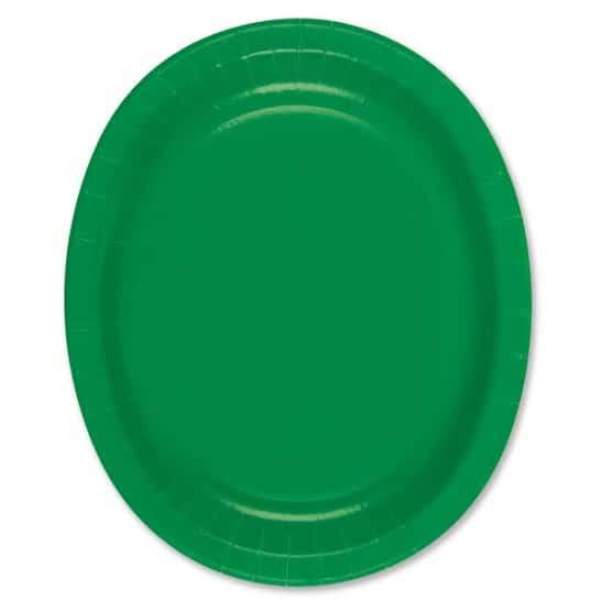 Grøn Oval Pap Tallerken 30 cm - Single