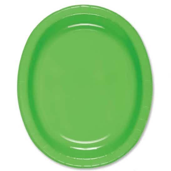 Lime Grøn Oval Pap Tallerken 30 cm - Single