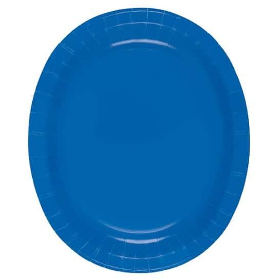 Blå Oval Pap Tallerken 30 cm - Single