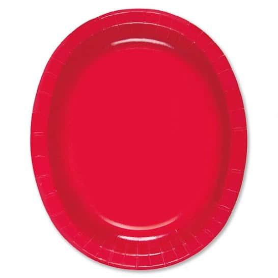 Rød Oval Pap Tallerken 30 cm - Single