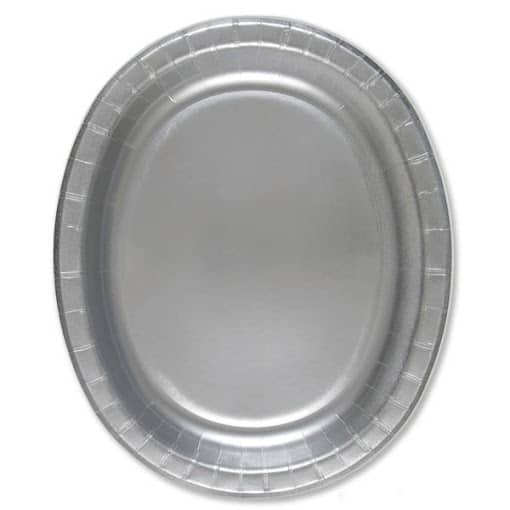 Sølv Oval Pap Tallerken 30 cm - Single