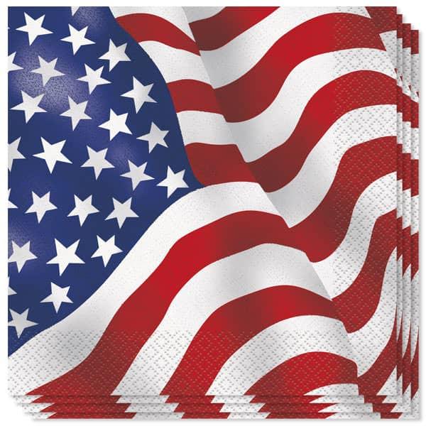 USA Flag 2 Lag Servietter 33 cm - Pakke med 16