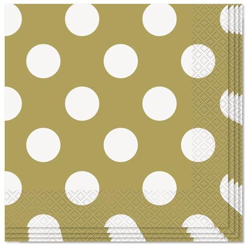 Guld med Prikker 2 Lag Servietter 33 cm - Pakke med 16