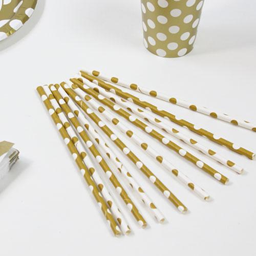 Guld med Prikker Pap Sugerør – Pakke med 10
