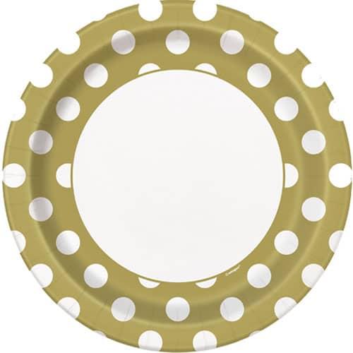 Guld med Prikker Pap Tallerken 22 cm - Single
