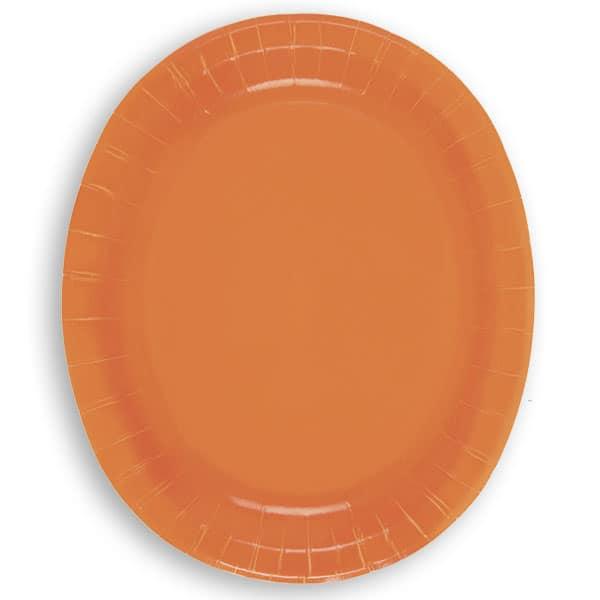 Orange Oval Pap Tallerken 30 cm - Single