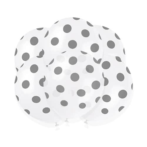 Sølv med Prikker Latexballoner 30 cm - Pakke med 6