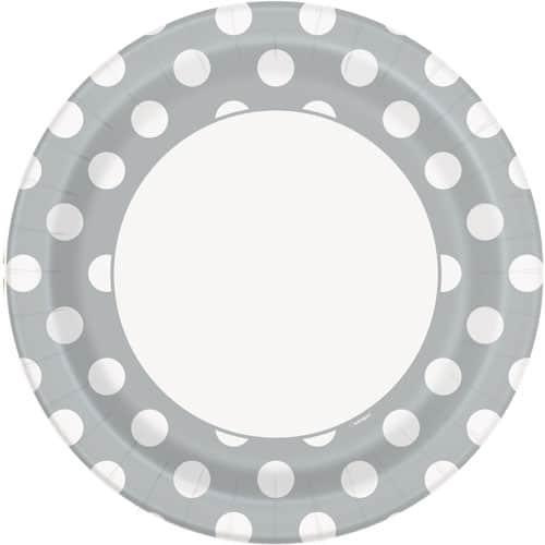 Sølv med Prikker Pap Tallerken 22 cm - Single