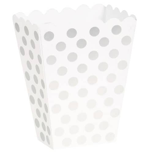 Sølv med Prikker Popcorn Pap Bæger – Pakke med 8