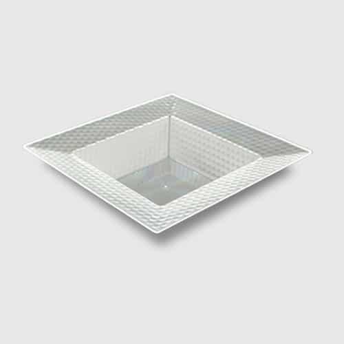 Klar Firkantet Mønsterkant Plastik Skål 14 cm - Single