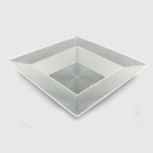 Klar Firkantet Mønsterkant Plastik Skål 21 cm - Single