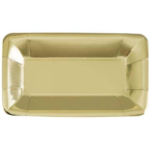 Guld Rektangulær Snack Bakke 23 cm - Pakke med 8