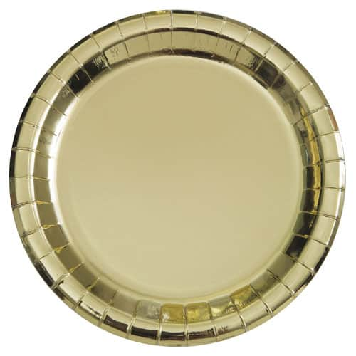Guld Folie Rund Paptallerken 22 cm - Single
