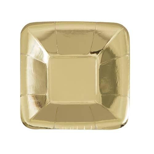 Guld Folie Firkantet Paptallerken 12 cm - Pakke med 8