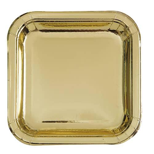 Guld Folie Firkantet Paptallerken 17 cm - Single