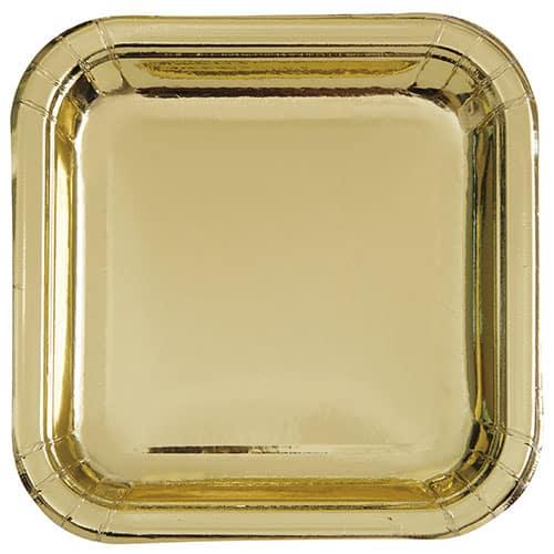 Guld Folie Firkantet Paptallerken 22 cm - Single