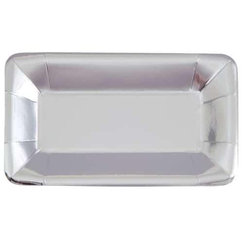 Sølv Rektangulær Snack Bakke 23 cm - Pakke med 8