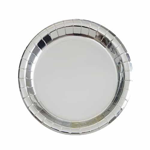 Sølv Folie Rund Paptallerken 17 cm - Single