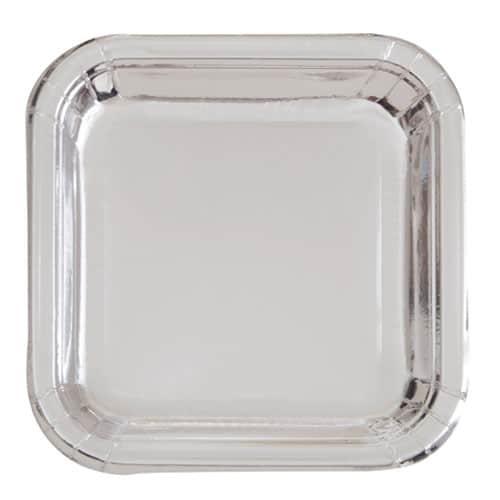 Sølv Folie Firkantet Paptallerken 17 cm - Single