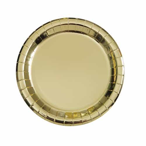 Guld Folie Rund Paptallerken 17 cm - Single