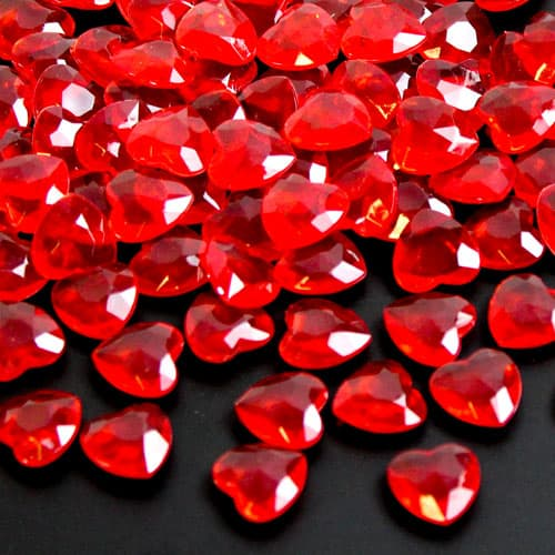 Røde Hjerte Juvel Bordpynt - 28 gr