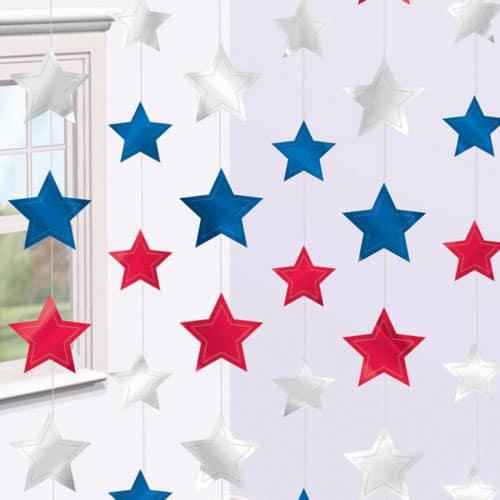 Røde Hvide og Blå Stjerner på Snore 2,1 m - Pakke med 6