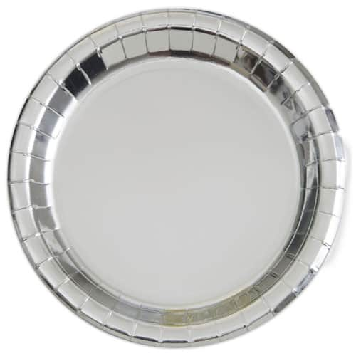 Sølv Paptallerken Rund 22 cm - Single