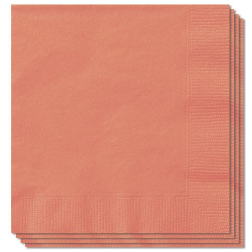 Koralfarvet Servietter 33 cm - Pakke med 100