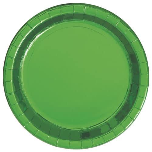Grøn Folie Pap Tallerken Rund 22 cm - Single