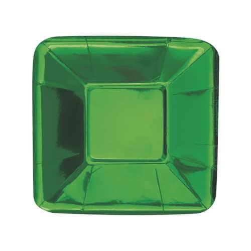 Grøn Folie Tallerken Firkantet 13 cm - Pakke med 8