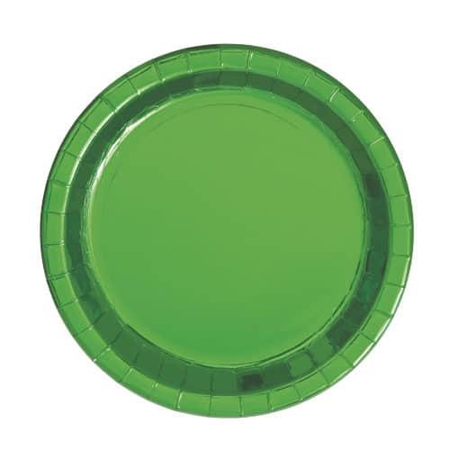 Grøn Folie Pap Tallerken Rund 17 cm - Single