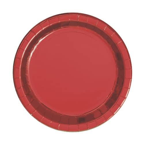 Rød Folie Pap Tallerken Rund 17 cm - Single