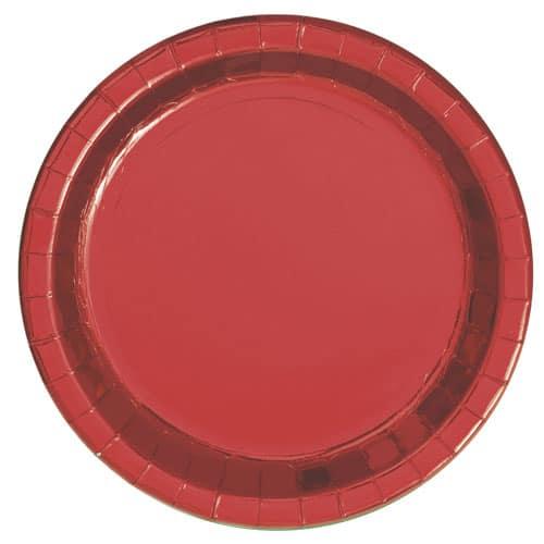 Rød Folie Pap Tallerken Rund 22 cm - Single