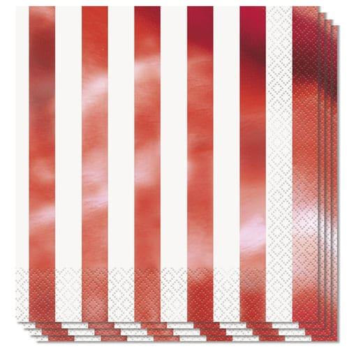 Metallic Rød Striber Servietter - Pakke med 16