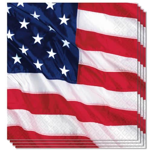 USA Flyvende Flag Servietter 33 cm - Pakke med 16