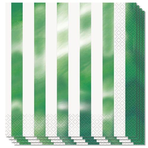 Metallic Grøn Striber Servietter - Pakke med 16