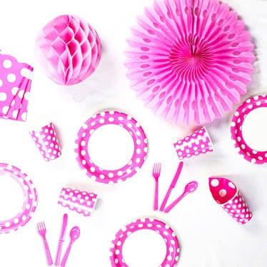 Pink med Prikker Tema Festartikler