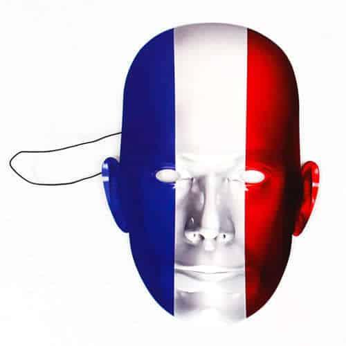 Frankrig Flag Pap Ansigtsmaske - Single