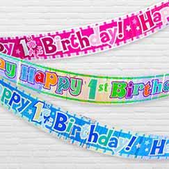 1 års Første Fødselsdag Folie Bannere